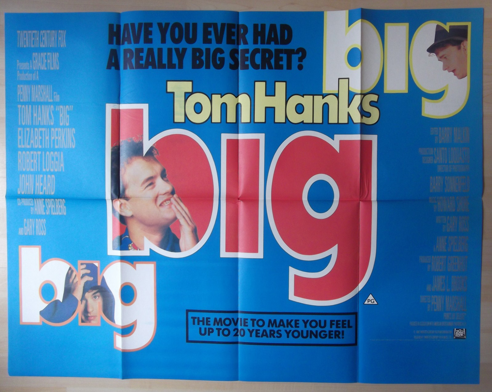 1988 Movie Posters: Big RARE Original UK Quad Poster Tom Hanks Wishes He Was
