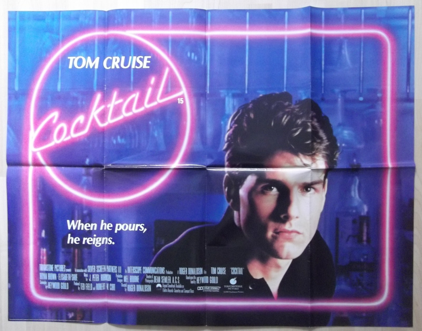 Cocktail Original Uk Quad Poster Tom Cruise Elisabeth Shue 88