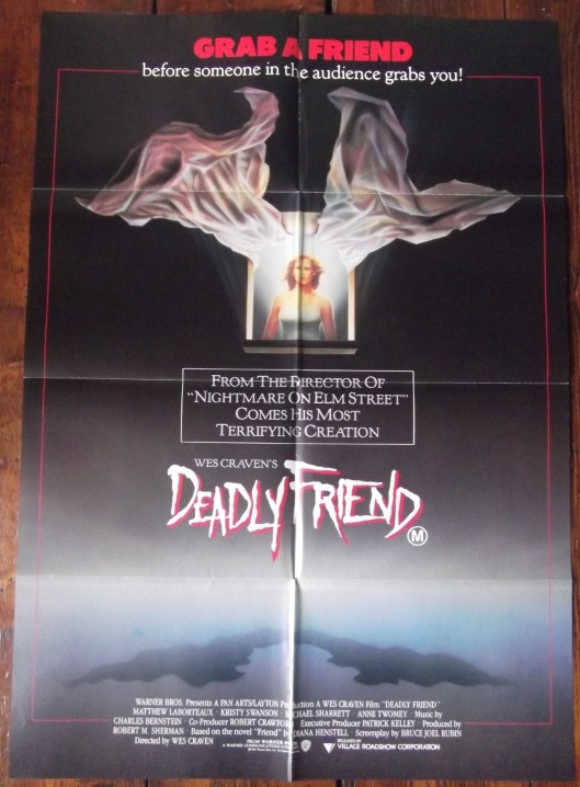 deadly friend movie poster kristy swanson wes craven 86