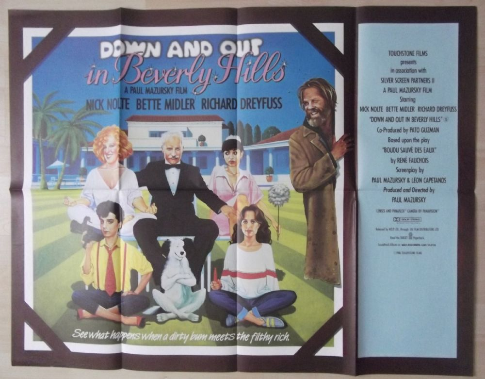 down and out in beverly hills original uk quad poster. Black Bedroom Furniture Sets. Home Design Ideas