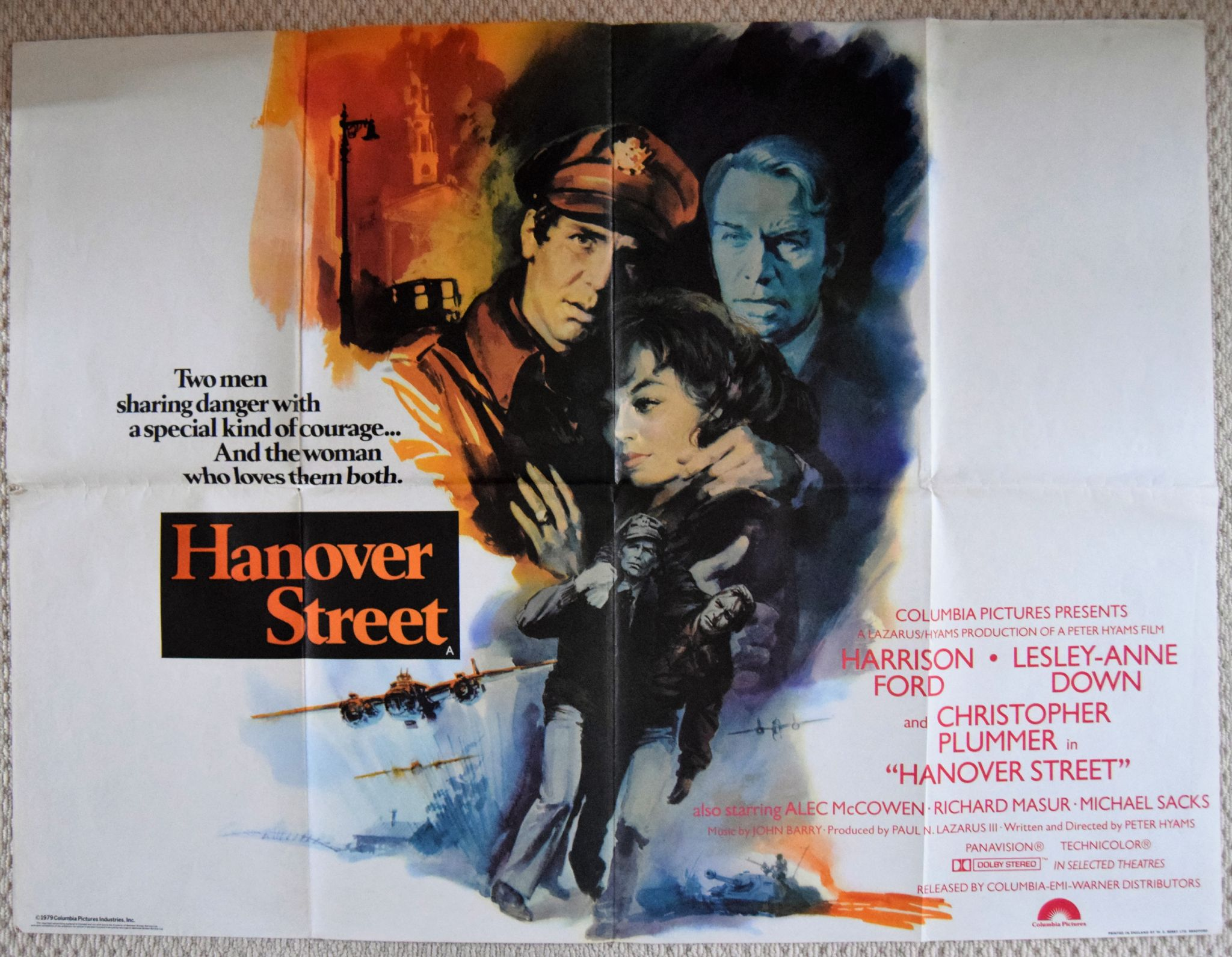 Hanover Street 1979 Film Poster Harrison Ford - UK Quad