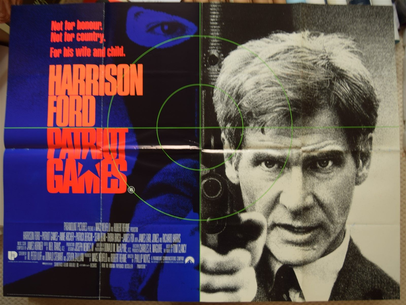 Patriot Games Original Ds Uk Quad Poster Harrison Ford 1992
