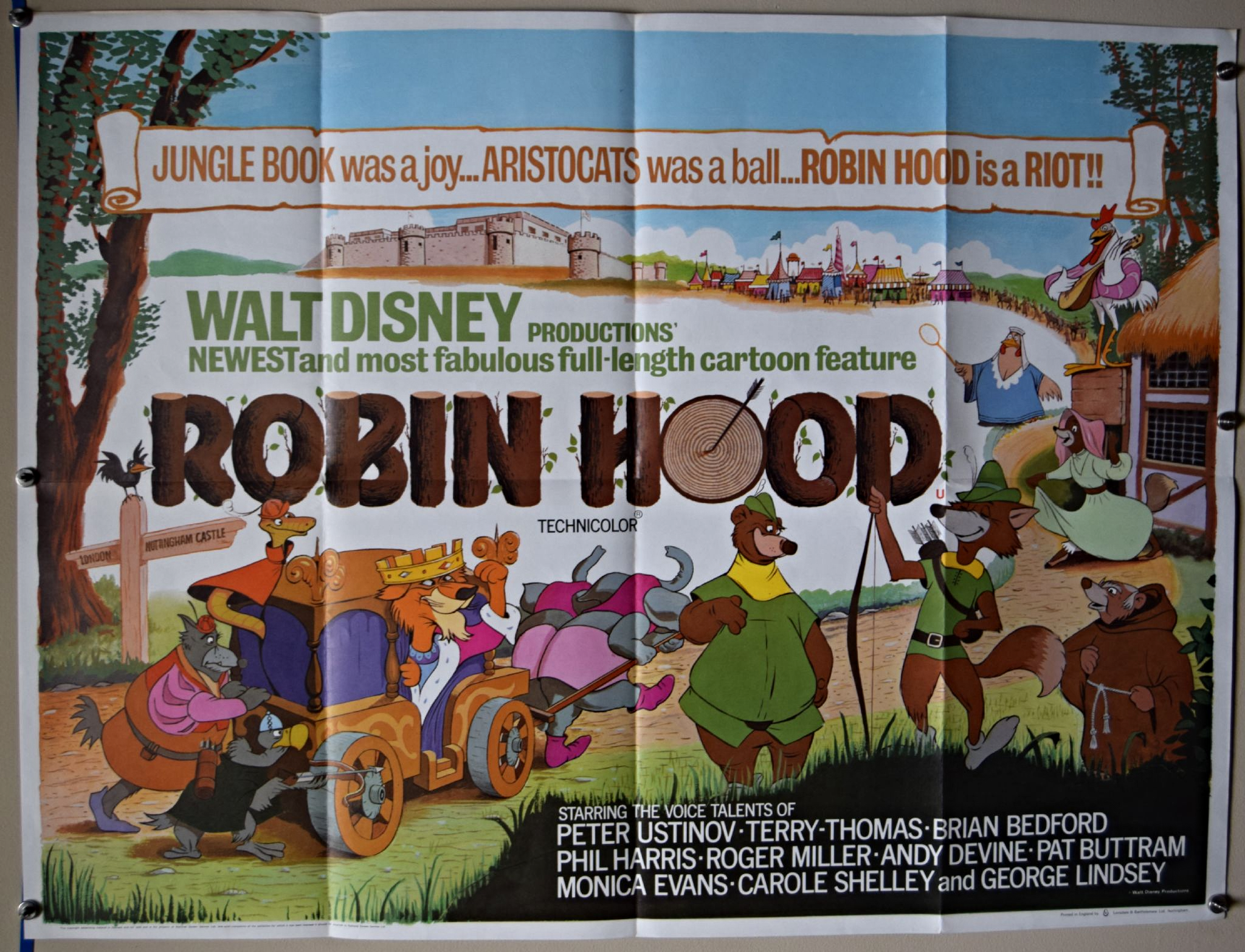 Robin Hood 1973 Walt Disney Film Poster Uk Quad